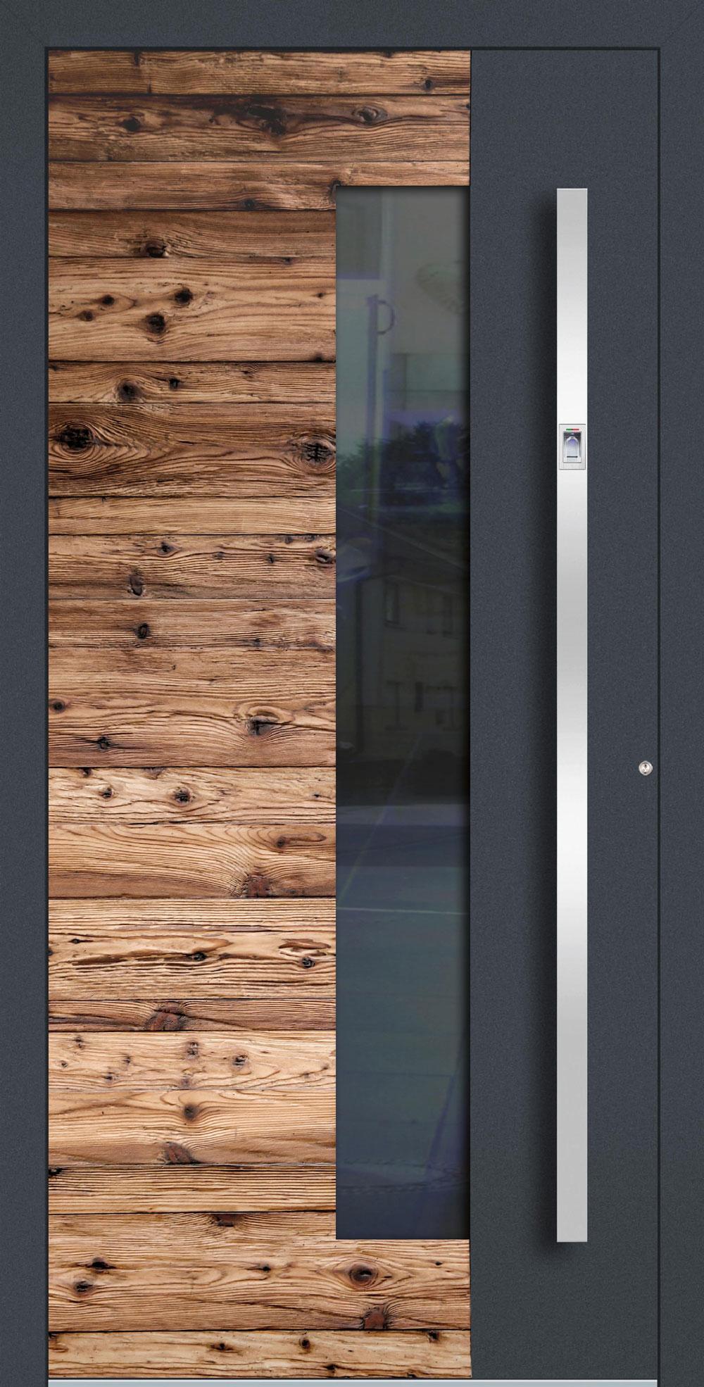 AHBG01 ISO-Wärmeschutzverglasung klar Altholz-Design mit Applikation in RAL 7016 FS einseitig außen Anwendungsbeispiel in flügelüberdeckend, Edelstahlgriff 11090 ES mit integriertem Fingerprint