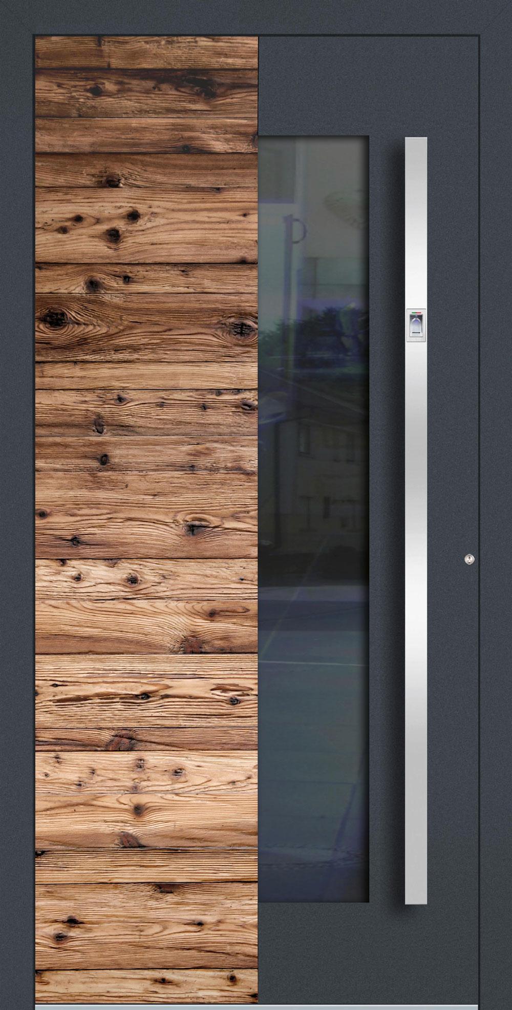 AHBG02 ISO-Wärmeschutzverglasung klar Altholz-Design mit Applikation in RAL 7016 FS einseitig außen Anwendungsbeispiel in flügelüberdeckend, Edelstahlgriff 11090 ES mit integriertem Fingerprint