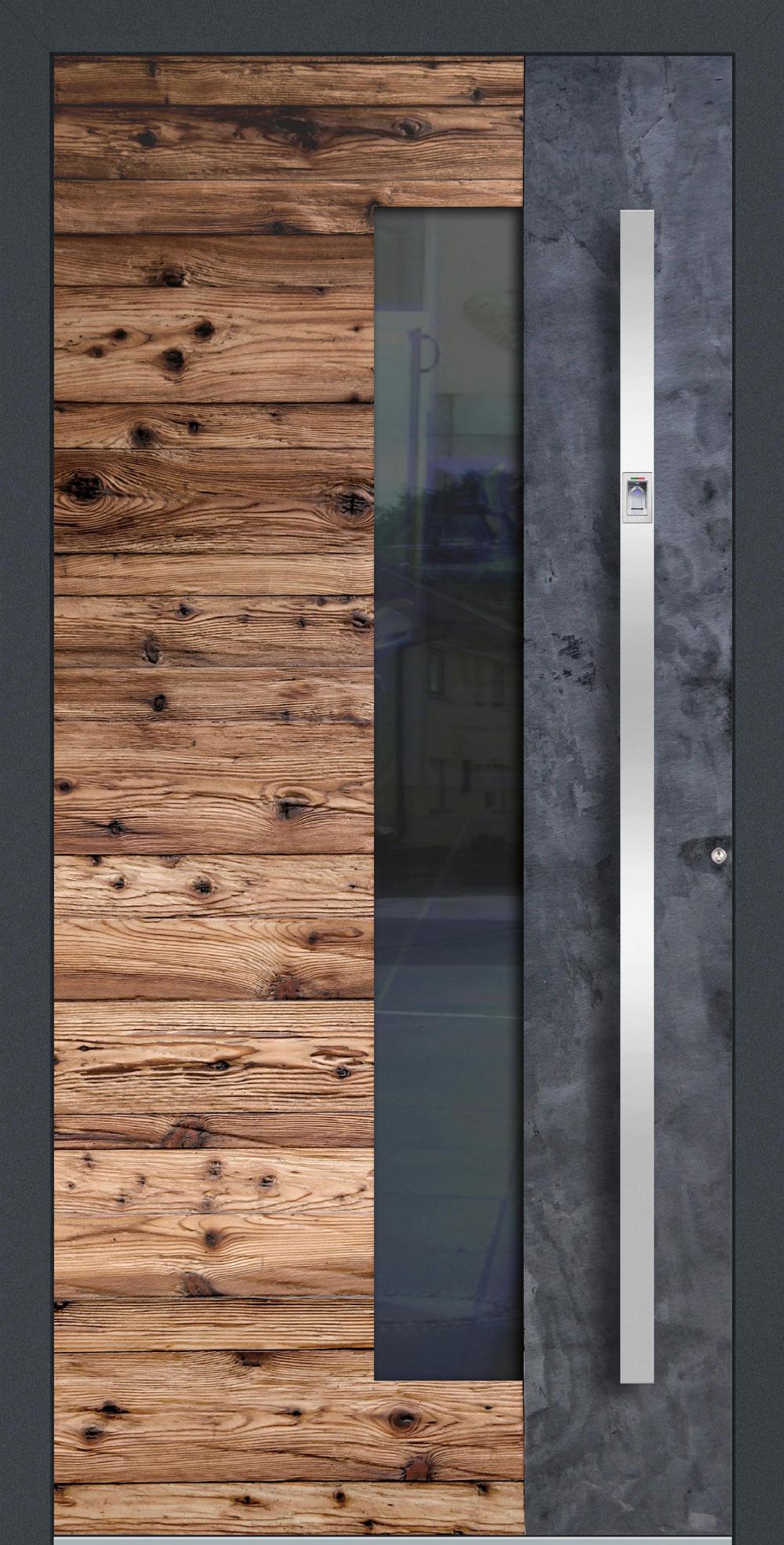 AHSG01 ISO-Wärmeschutzverglasung klar Altholz-Design mit Echtschiefer-Applikation einseitig außen Anwendungsbeispiel in flügelüberdeckend, Edelstahlgriff 11090 ES mit integriertem Fingerprint