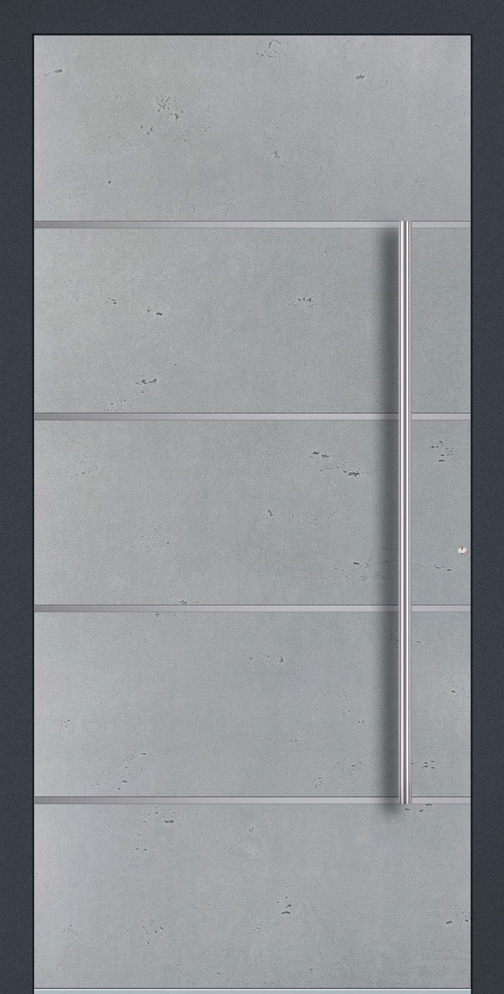 BE01 komplett geschlossen Betonoptik Vintage & Streifen in Edelstahl-Optik einseitig außen Anwendungsbeispiel in flügelüberdeckend, Edelstahlgriff 1600 ES