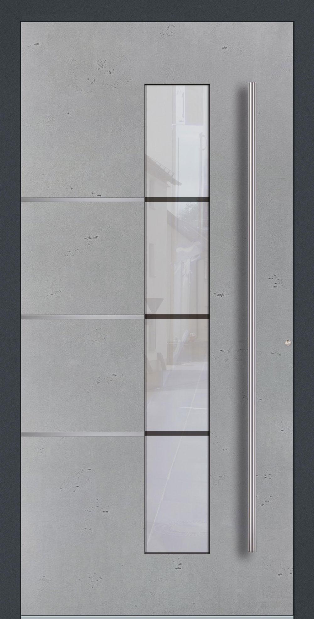 BEG01 ISO-Wärmeschutzverglasung Float mattiert mit klaren Streifen Betonoptik Vintage mit Echtschiefer- Applikation & Streifen in Edelstahl-Optik einseitig außen Anwendungsbeispiel in flügelüberdeckend, Edelstahlgriff 1200 ES