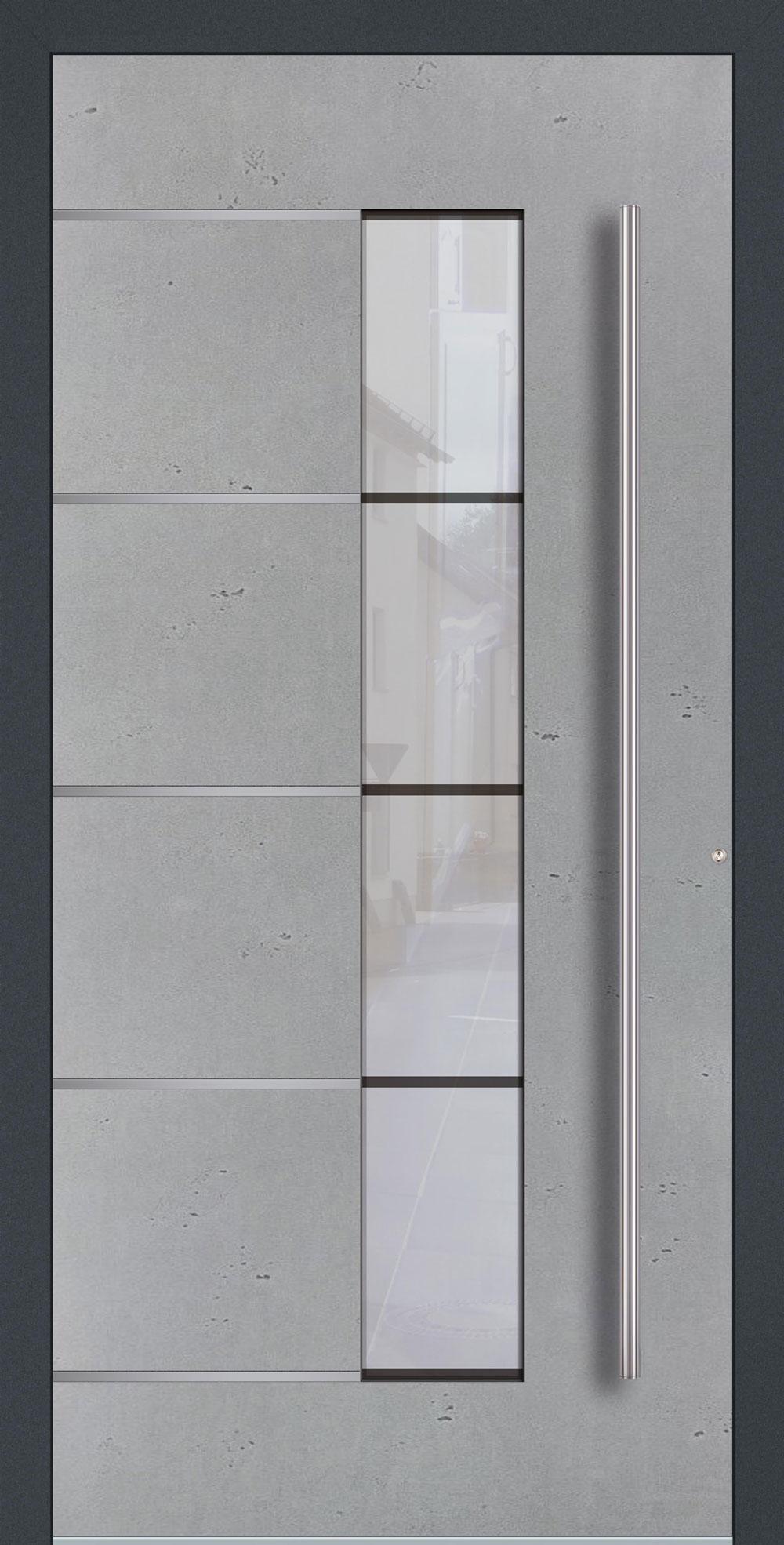 BEG02 ISO-Wärmeschutzverglasung Float mattiert mit klaren Streifen Betonoptik Vintage & Streifen in Edelstahl-Optik einseitig außen Anwendungsbeispiel in flügelüberdeckend, Edelstahlgriff 1600 ES