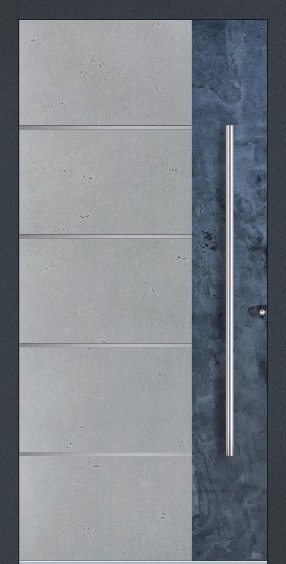 BES01 komplett geschlossen Betonoptik Vintage mit Echtschiefer- Applikation & Streifen in Edelstahl-Optik einseitig außen Anwendungsbeispiel in flügelüberdeckend, Edelstahlgriff 1200 ES