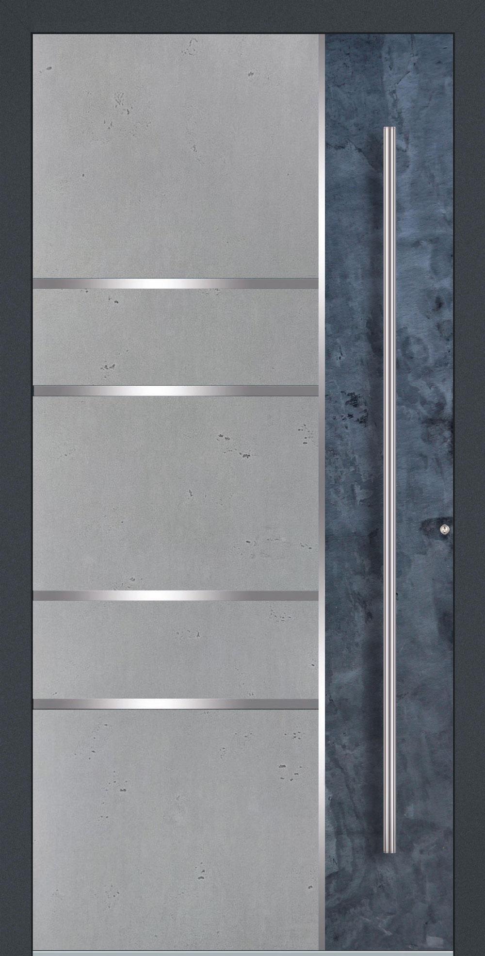 BES02 komplett geschlossen Betonoptik Vintage mit Echtschiefer- Applikation & Streifen in Edelstahl-Optik einseitig außen Anwendungsbeispiel in flügelüberdeckend, Edelstahlgriff 1600 ES