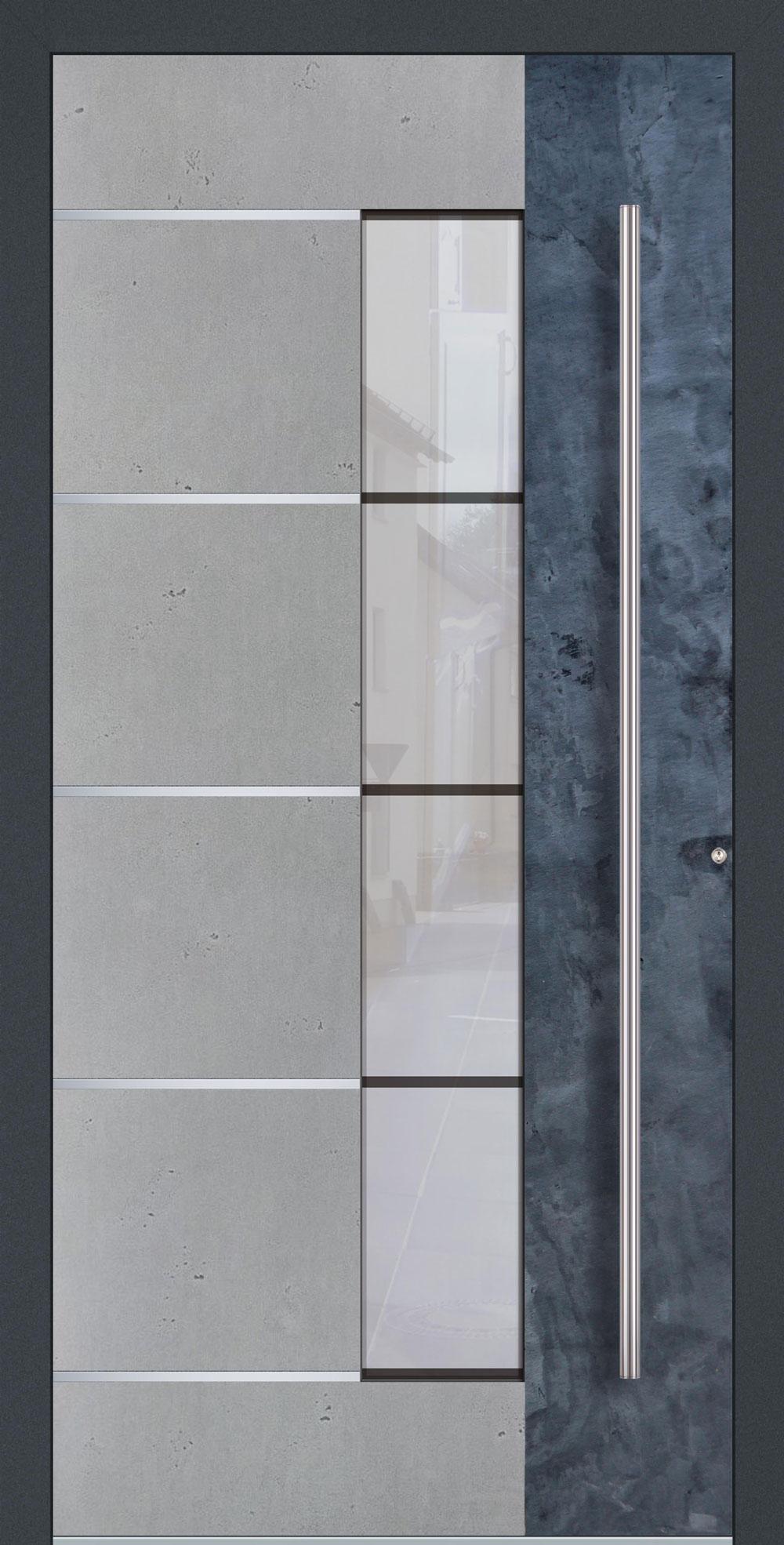 BESG01 ISO-Wärmeschutzverglasung Float mattiert mit klaren Streifen Betonoptik Vintage mit Echtschiefer- Applikation & Streifen in Edelstahl-Optik einseitig außen Anwendungsbeispiel in flügelüberdeckend, Edelstahlgriff 1600 ES