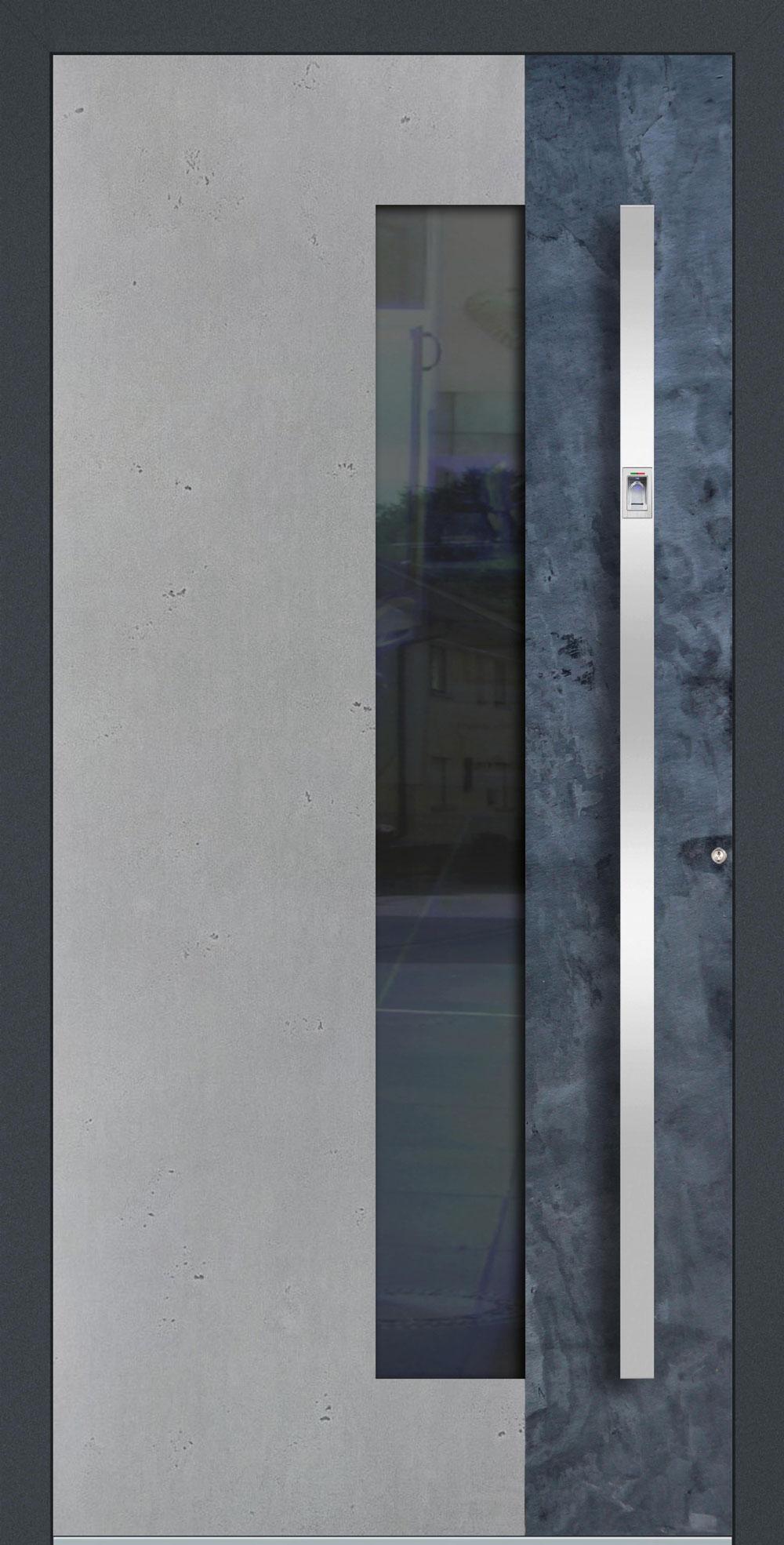 BSG01 ISO-Wärmeschutzverglasung klar Betonoptik Vintage mit Echtschiefer-Applikation einseitig außen Anwendungsbeispiel in flügelüberdeckend, Edelstahlgriff 11090 ES mit integriertem Fingerprint