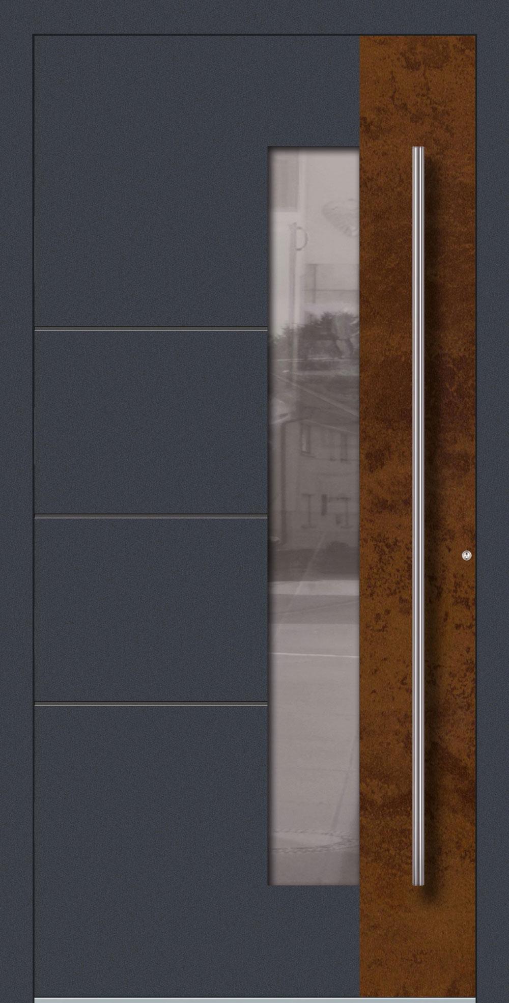 RBGN01 ISO-Wärmeschutzverglasung Satinato weiß Nuten & Applikation in Rostoptik Vintage einseitig außen Anwendungsbeispiel in flügelüberdeckend, Edelstahlgriff 1600 ES
