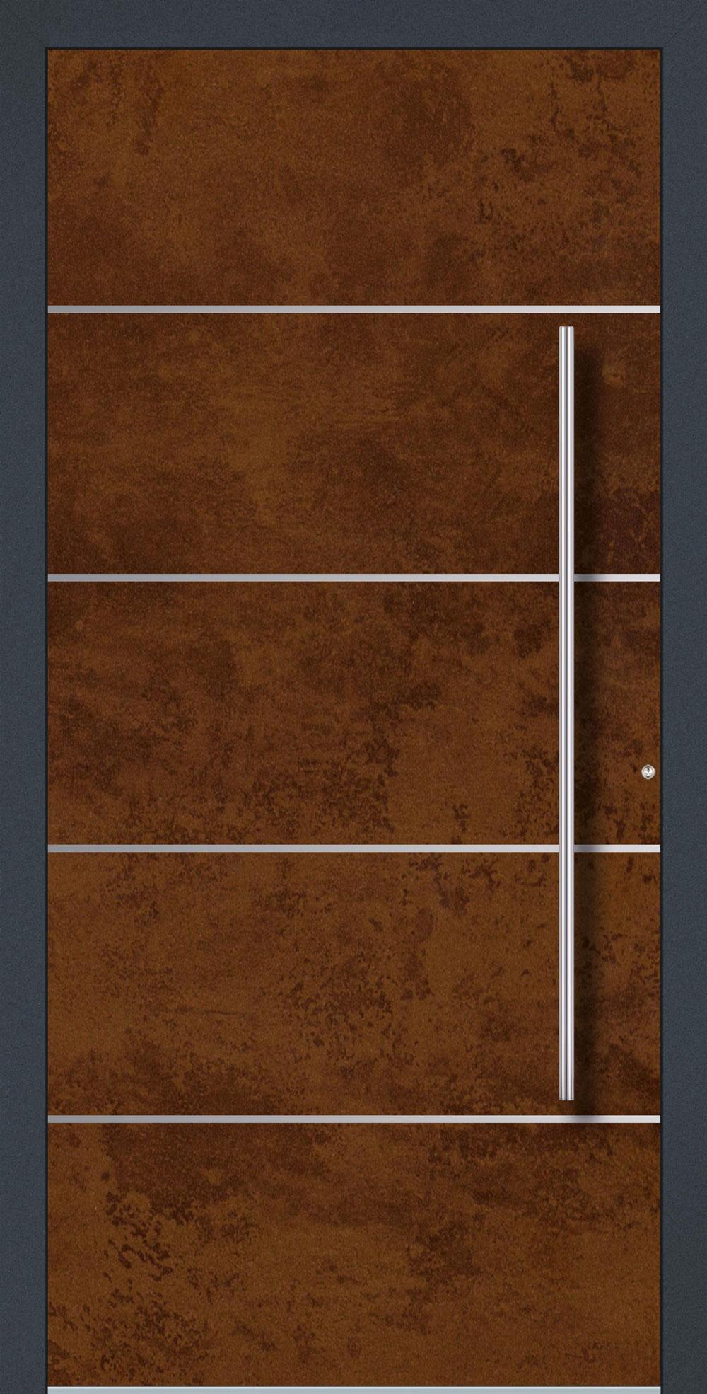 RE01 komplett geschlossen Rostoptik Vintage & Streifen in Edelstahl-Optik einseitig außen Anwendungsbeispiel in flügelüberdeckend, Edelstahlgriff 1200 ES