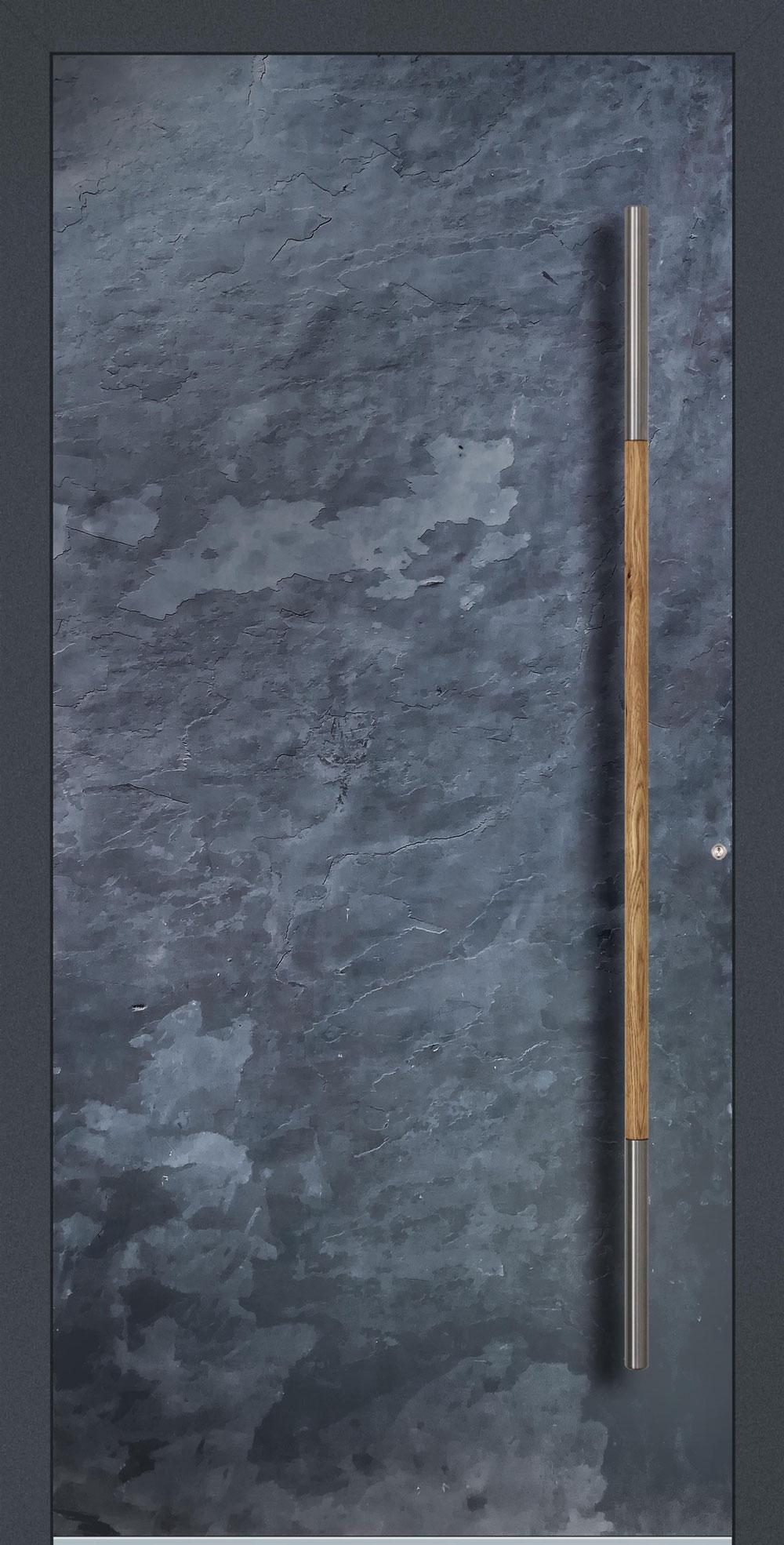 S01 komplett geschlossen Echtschieferoberfläche einseitig außen Anwendungsbeispiel in flügelüberdeckend, Edelstahlgriff 0324 (Eiche)