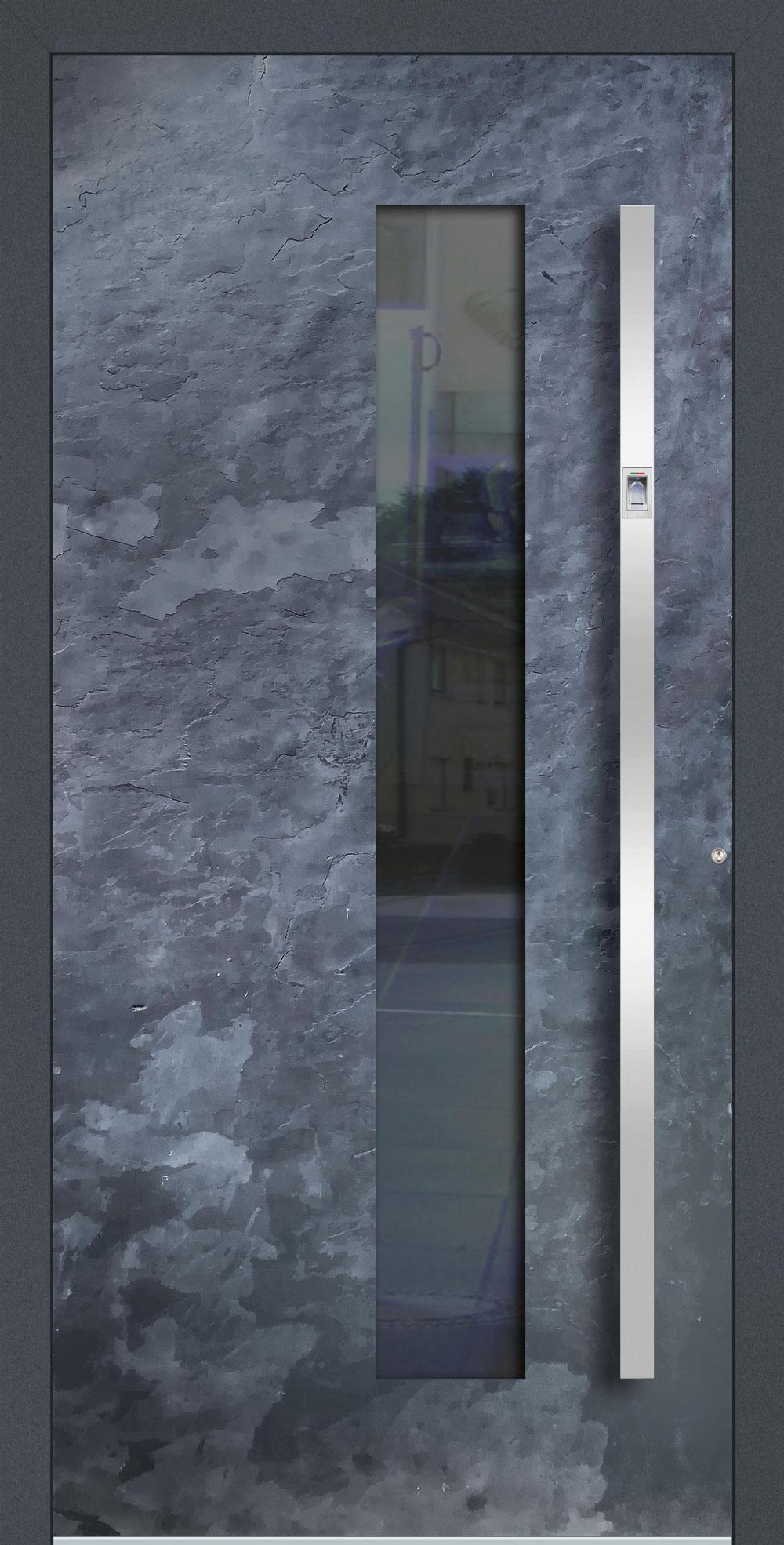 SG01 ISO-Wärmeschutzverglasung klar Echtschieferoberfläche einseitig außen Anwendungsbeispiel in flügelüberdeckend, Edelstahlgriff 11090 ES mit integriertem Fingerprint