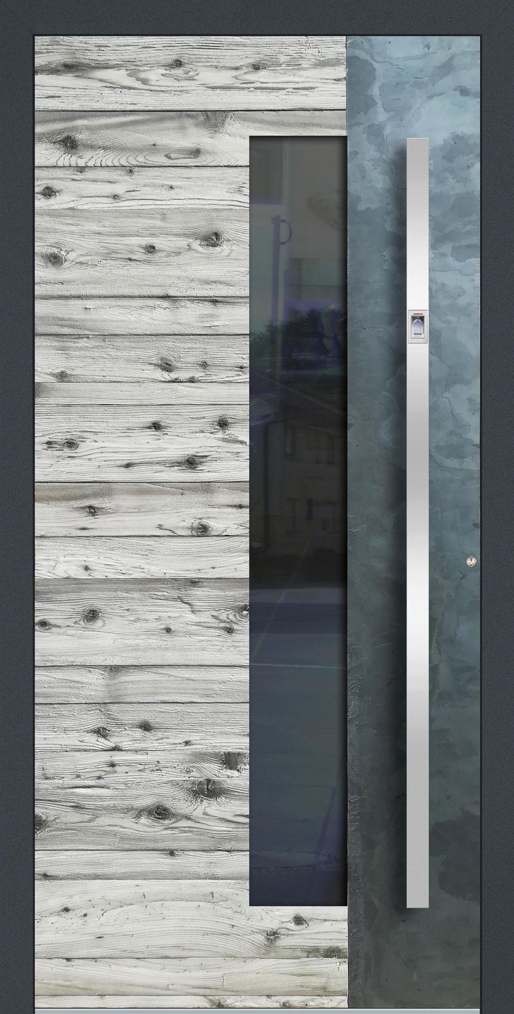WHSG01 ISO-Wärmeschutzverglasung klar Altholz-Design mit Echtschiefer-Applikation einseitig außen Anwendungsbeispiel in flügelüberdeckend, Edelstahlgriff 11090 ES mit integriertem Fingerprint